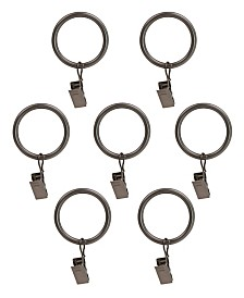 Montevilla Curtain Clip Rings for 5/8-Inch Rod, Set of 7, Hematite