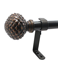 Decopolitan 1-Inch Artichoke Telescoping Curtain Rod Set, 72 to 144-Inches, Vintage Bronze