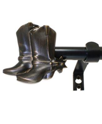 Montevilla 5/8-Inch Cowboy Boots Telescoping Curtain Rod Set, 26 to 48-Inch, Vintage Bronze