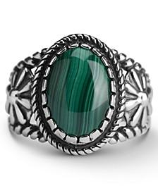 Malachite Bezel Set Ring in Sterling Silver