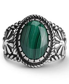 American West Malachite Bezel Set Ring in Sterling Silver