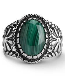 American West Malachite Bezel Set Ring in Sterling Silver
