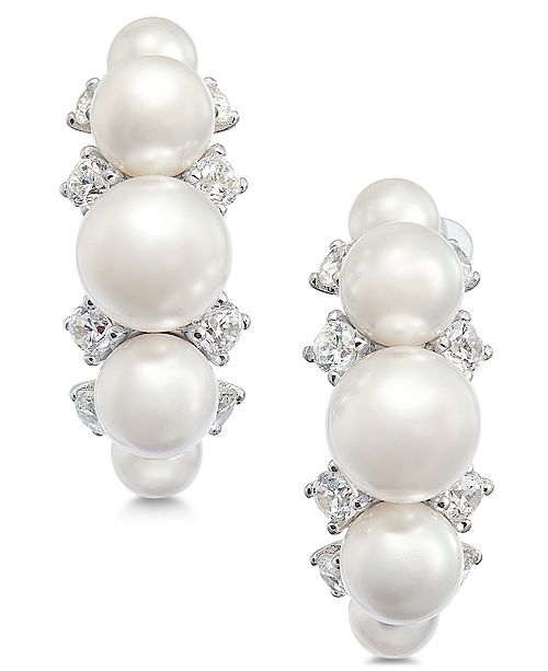 Eliot Danori Silver-Tone Crystal & Imitation Pearl J-Hoop Earrings, Created for Macy's