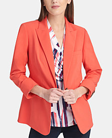 DKNY One-Button Button-Cuffed Blazer