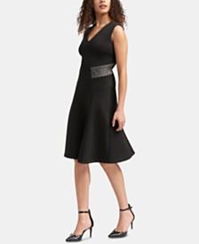 DKNY Mesh V-Neck Fit & Flare Dress