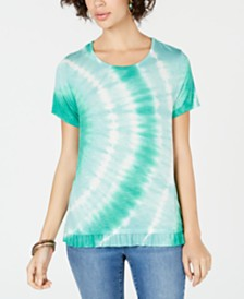 Style & Co Petite Ruffle-Hem Tie-Dye Top, Created for Macy's