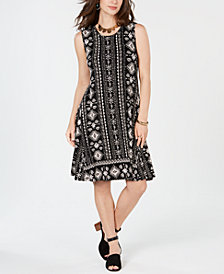 Style & Co Batik-Print A-Line Dress, Created for Macy's