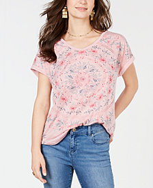 Style & Co Embellished Graphic-Print Top, Created for Macy's