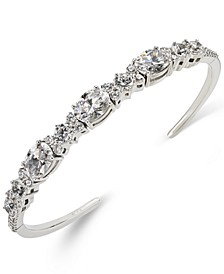 Silver-Tone Crystal Flex Cuff Bracelet, Created for Macy's