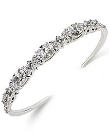Eliot Danori Silver-Tone Crystal Flex Cuff Bracelet, Created for Macy's