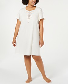 Charter Club Plus Size Soft Knit Sleepshirt with Lace, Created for Macy's