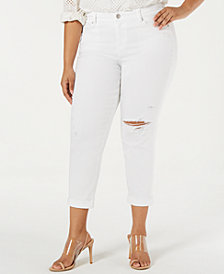 Celebrity Pink Juniors' Plus Size Ripped Girlfriend Jeans
