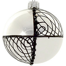 "Black and White 4 pc Set of Mouth Blown & Hand Decorated European 4"" Round Holiday Ornaments"