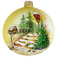 """Hand Painted Trees Mouth Blown & Hand Decorated European Glass 6"""" Round Holiday Ornament"""