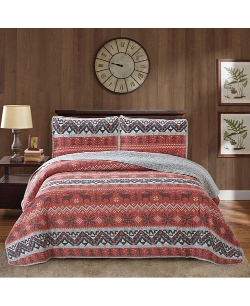 Welcome Industrial Moose 3 Piece Quilt Set King