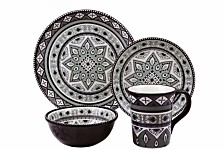 Lorren Home Trends Bimini Collection 16 Piece Beaded Stoneware Set