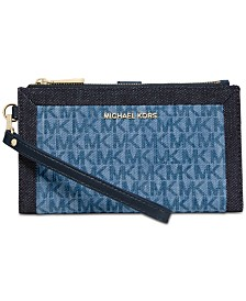 5b2369555c MICHAEL Michael Kors Denim Signature Double Zip Wristlet
