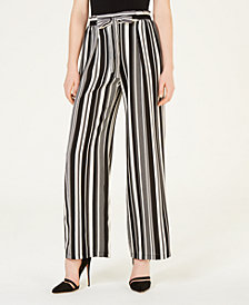 BCX Juniors' Striped Tie-Waist Pants