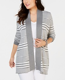 Charter Club Petite Striped Sweater Cardigan, Created for Macy's