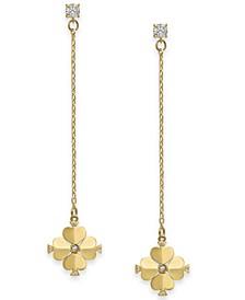 Gold-Tone Crystal Flower Linear Drop Earrings
