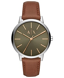 A X Men's Cayde Brown Leather Strap Watch 42mm