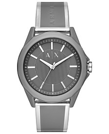 A|X Armani Exchange Men's Drexler Gray Polyurethane Strap Watch 44mm
