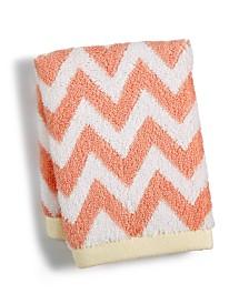 "Martha Stewart Collection Chevron Spa Cotton 13"" x 13"" Wash Towel, Created for Macy's"