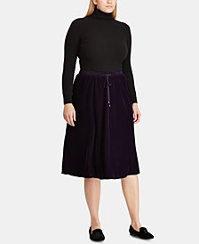 Lauren Ralph Lauren Plus Size Velvet A-Line Skirt