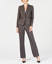 Le Suit Zippered-Pocket Shoulder-Pad Pantsuit