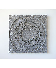 Square Hand Carved Wood Wall Décor