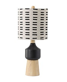 Wood and Ceramic Table Lamp w/ Linen Shade