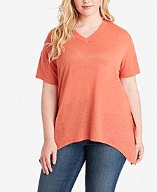 Jessica Simpson Juniors' Plus Size Handkerchief-Hem T-Shirt
