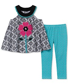 Kids Headquarters Little Girls 2-Pc.Floral Appliqué Tunic & Dot-Print Leggings Set