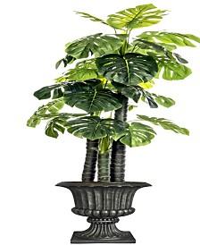 """Laura Ashley 85.5"""" Tall Indoor-Outdoor Monstera Ceriman Artificial Indoor/ Outdoor Lifelike Faux in Fiberstone Urn"""