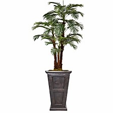 "85"" Tall Palm Tree Artificial Decorative  Faux with Burlap Kit and Fiberstone Planter"