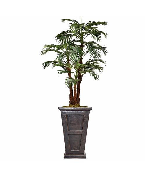 "Laura Ashley 85"" Tall Palm Tree Artificial Decorative  Faux with Burlap Kit and Fiberstone Planter"