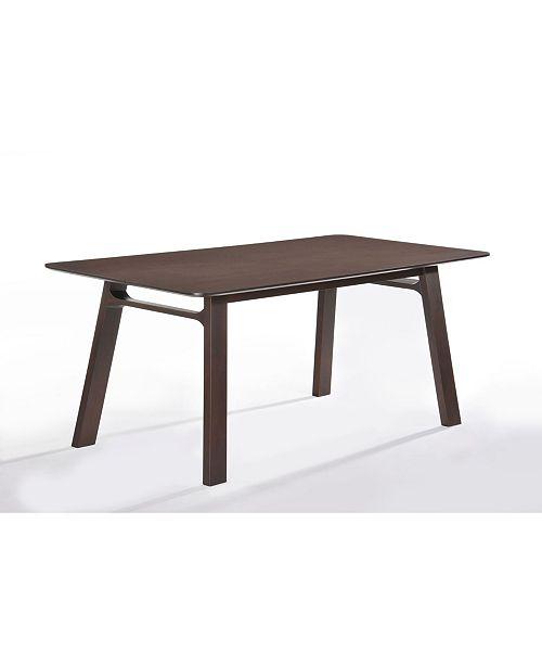 New Spec Inc Elmest Mid Century Wenge Solid Wood Dining Table