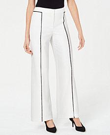 Alfani Petite Crochet-Trim Wide-Leg Pants, Created for Macy's