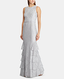 Lauren Ralph Lauren Tiered Lace Gown