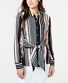 Tommy Hilfiger Striped Tie-Back Button-Up Shirt, Created for Macy's