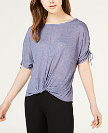 BCX Juniors' Lace-Back Twist-Front Top