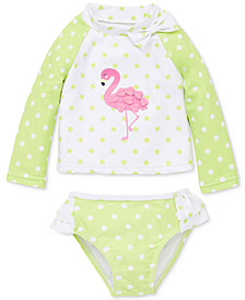 Little Me Flamingo Baby Girls 2-Pc. Rashguard