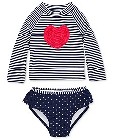 Little Me Heart Baby Girls 2-Pc. Rashguard