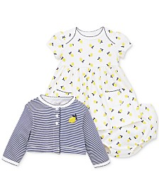 Little Me Baby Girls 3-Pc. Lemon-Print Cotton Dress, Cardigan & Diaper Cover Set