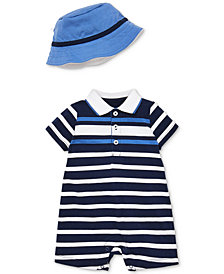 Little Me Baby Boys 2-Pc. Striped Cotton Sunsuit & Hat Set