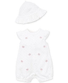 Baby Girls 2-Pc. Wild Butterfly Cotton Sunsuit & Hat Set