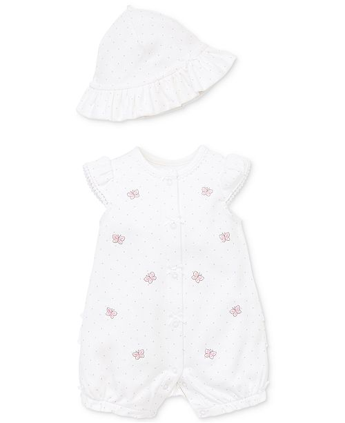 Little Me Baby Girls 2-Pc. Wild Butterfly Cotton Sunsuit & Hat Set