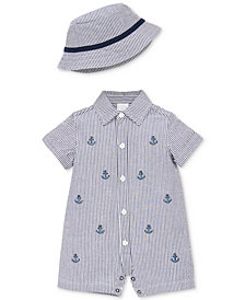 Little Me Baby Boys 2-Pc. Cotton Sunsuit & Hat Set