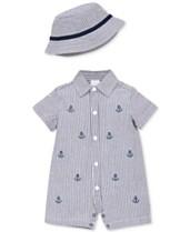 Little Me Baby Boys 2-Pc. Cotton Sunsuit   Hat Set 03cca9b972ef