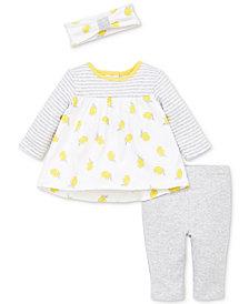 Little Me Baby Girls 3-Pc. Lemon-Print Cotton Tunic, Pants & Headband Set